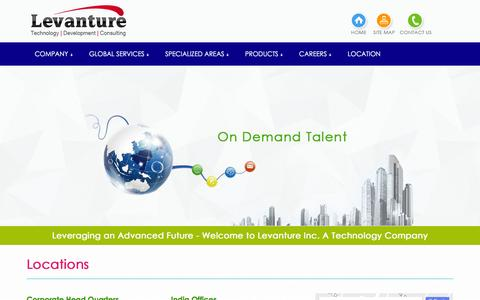 Screenshot of Locations Page levanture.com - Leveraging an Advanced Future' - Welcome to Levanture Inc. A Technology Company - captured Nov. 6, 2016