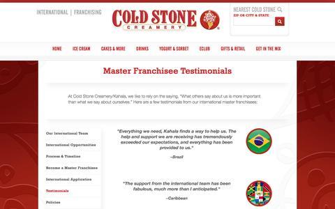 Screenshot of Testimonials Page coldstonecreamery.com - Testimonials - captured May 19, 2017