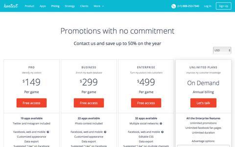 Screenshot of Pricing Page kontestapp.com - Kontest - Pricing and plans for your budget - captured Sept. 22, 2018