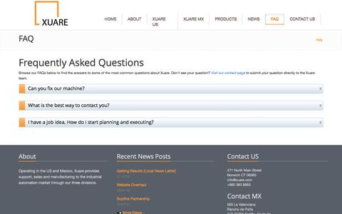 Screenshot of FAQ Page xuare.com - Frequently Asked Questions   Xuare - captured Nov. 28, 2016