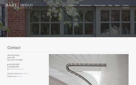 Screenshot of Contact Page baxtingui.com - Contact - BAXT INGUI - captured Feb. 7, 2016