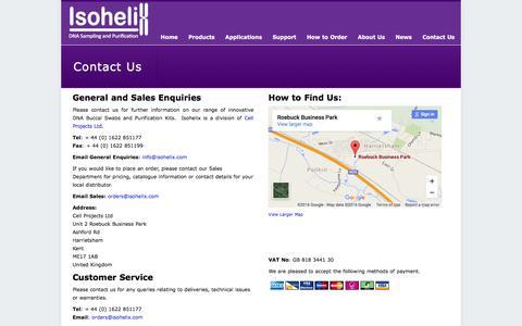 Screenshot of Contact Page isohelix.com - Contact Us - Isohelix Ltd - captured Jan. 22, 2016