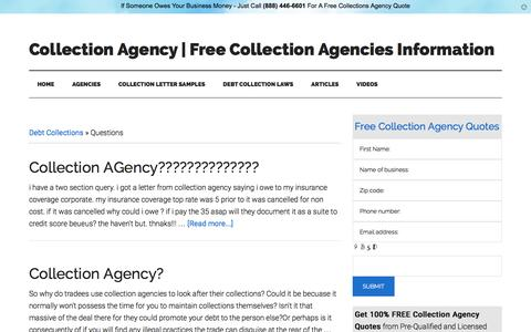 Screenshot of FAQ Page collectionagency.info - Questions Archives | Collection Agency | Free Collection Agencies Information - captured Jan. 30, 2016