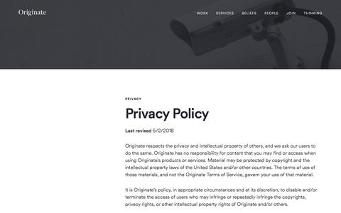 Screenshot of Privacy Page originate.com - Privacy | Originate - captured Sept. 23, 2018