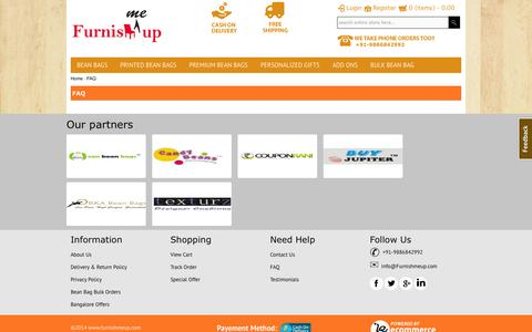 Screenshot of FAQ Page furnishmeup.com - Online Bean Bags | FurnishMeUp - The Online Bean Bag and furniture store Bangalore - Bean Bags Special Offers - captured Sept. 26, 2014