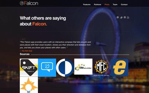 Screenshot of Press Page thefalconapp.com - Press - captured Sept. 12, 2014