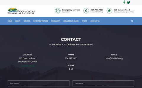 Screenshot of Contact Page pmhwv.org - Contact - Pocahontas Memorial Hospital - captured Sept. 28, 2018