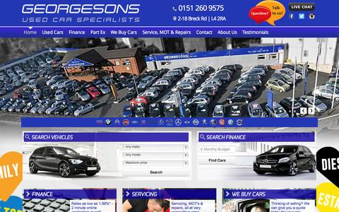 Screenshot of Home Page georgesonscars.co.uk - Used cars for sale in Liverpool - Quality stock at Georgesons Cars - captured Oct. 2, 2014