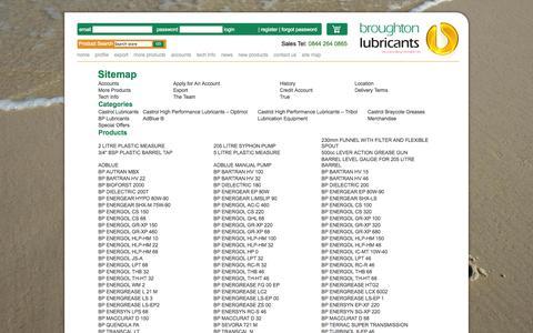 Screenshot of Site Map Page broughtonlubricants.co.uk - Sitemap - captured Sept. 30, 2014