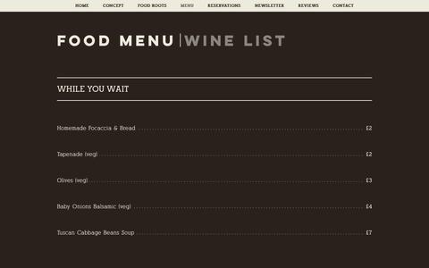 Screenshot of Menu Page in-parma.com - in-parma | MENU - captured Oct. 10, 2018