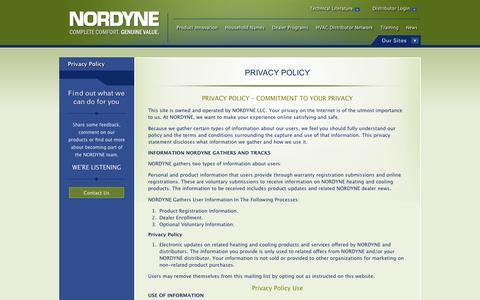 Screenshot of Privacy Page nordyne.com - Privacy Policy   Information Gathering   NORDYNE.com   NORDYNE - captured Sept. 30, 2014