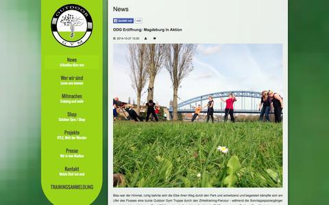 Screenshot of Press Page outdoorgym.de - Aktuelles über uns - Outdoor Gym / Felix Klemme - captured Oct. 31, 2014