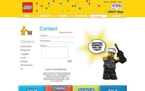 Screenshot of Contact Page legobags.com - Contact Us : ::..LEGO..::, LEGObags.com for all of your kids bags - captured Nov. 4, 2014