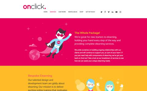 Screenshot of Services Page onclick.co.uk - Complete Elearning Services – Onclick - captured Nov. 13, 2017