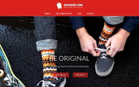 Screenshot of Home Page sockbox.com - Sockbox - Sock of the Month Club - captured Jan. 2, 2017
