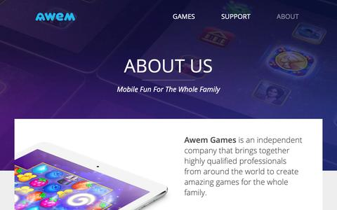 Screenshot of About Page awem.com - About Us - Awem Games - captured Dec. 18, 2018
