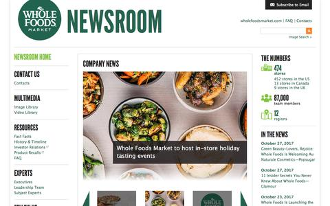 Screenshot of Press Page wholefoodsmarket.com - Home - Whole Foods Market Newsroom - captured Nov. 12, 2017