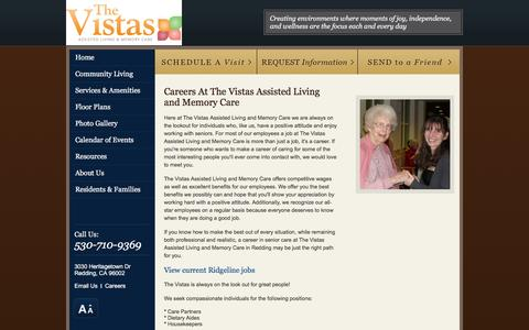 Screenshot of Jobs Page vistasalf.com - Careers At The Vistas Assisted Living and Memory Care - captured March 30, 2016