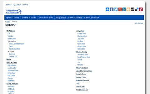 Screenshot of Site Map Page karishmasteel.com - Sitemap for www.karishmasteel.com - captured Nov. 27, 2016