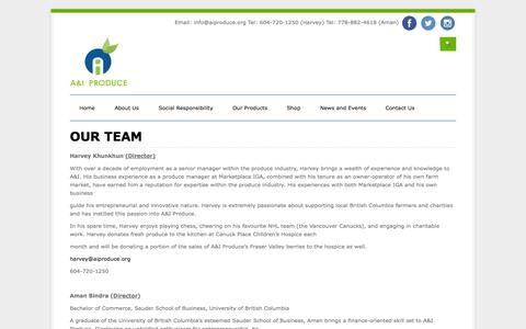 Screenshot of Team Page aiproduce.org - Our Team | A & I Produce Ltd. - captured Sept. 30, 2014