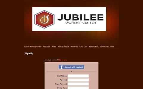 Screenshot of Signup Page jubileeworshipcenter.com - Signup - captured Aug. 8, 2016