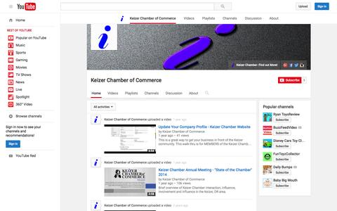 Screenshot of YouTube Page youtube.com - Keizer Chamber of Commerce  - YouTube - captured Nov. 18, 2015