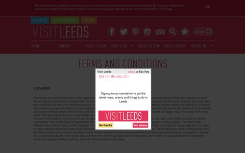 Screenshot of Terms Page visitleeds.co.uk - Visit Leeds Terms and Conditions - captured Sept. 20, 2018