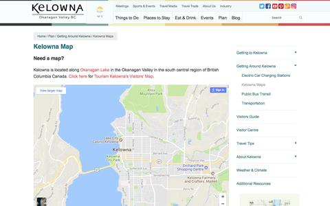 Screenshot of Maps & Directions Page tourismkelowna.com - Map of Kelowna | Okanagan Lake & British Columbia Canada - captured Nov. 23, 2017