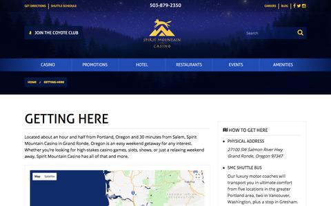 Screenshot of Maps & Directions Page spiritmountain.com - Map & Directions | Grand Ronde, OR | Spirit Mountain Casino | Spirit Mountain Casino - captured June 3, 2018
