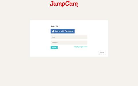 Screenshot of Login Page jumpcam.com - JumpCam - captured Sept. 13, 2014