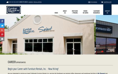 Screenshot of Jobs Page furniturerentals.com - Career Opportunities | Mt Pleasant - Savannah - Augusta - Columbia - captured Oct. 14, 2017