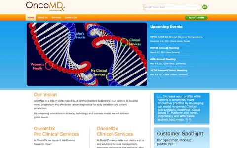 Screenshot of Home Page oncomdx.com - OncoMdx – Cloud-Based IT and Digital Pathology Platform – supporting Bio-Pharma Research - captured Oct. 7, 2014