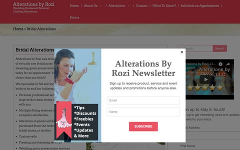 Screenshot of Services Page alterationsbyrozi.com - Bridal Alterations | Alterations by Rozi - captured July 29, 2018