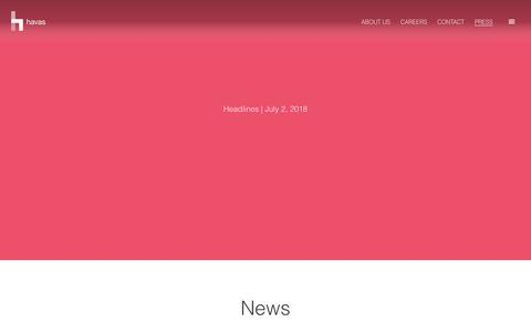 Screenshot of Press Page havas.com - Press | Johannesburg - captured Sept. 27, 2018