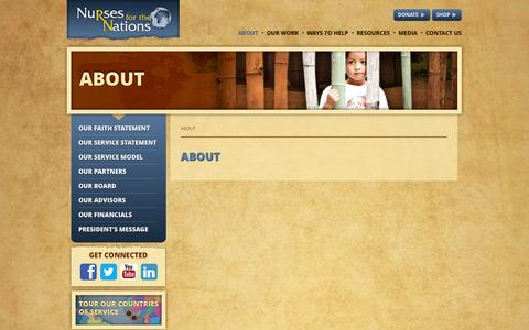 Screenshot of About Page nursesforthenations.org - About - Nurses For The Nations - captured Oct. 9, 2014