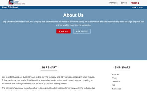 Screenshot of About Page shipsmart.com - About Us ShipSmart - captured Oct. 27, 2017