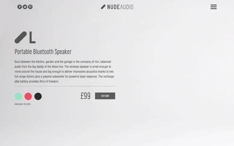 Screenshot of nudeaudio.com - NudeAudio MOVE L - Award Winning Bluetooth Speakers - captured March 29, 2016