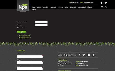Screenshot of Login Page kps.uk.com - Login - KPS UK - captured Oct. 6, 2014