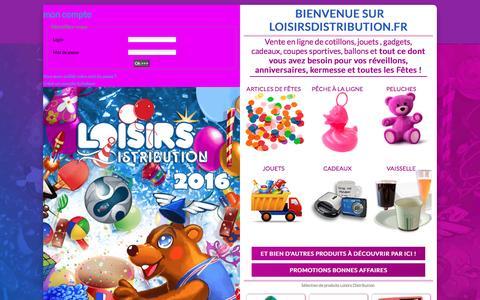 Screenshot of Login Page loisirsdistribution.fr - Loisirs distribution :  fête, anniversaire, réveillon, noël, kermesse, cadeau, récompense, loterie - captured June 3, 2016