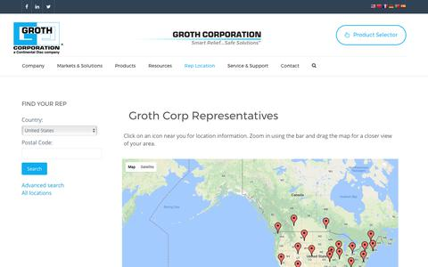 Screenshot of Maps & Directions Page grothcorp.com - Map - Groth Corp - captured Sept. 22, 2017