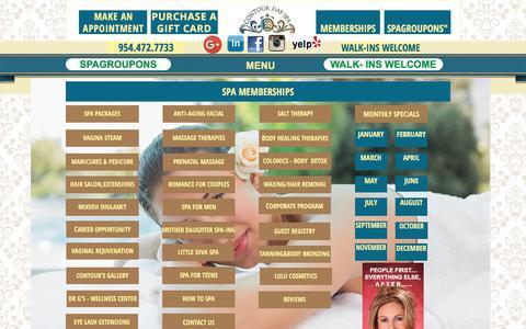 Screenshot of Menu Page contourdayspa.com - SPA SERVICES - captured July 21, 2018