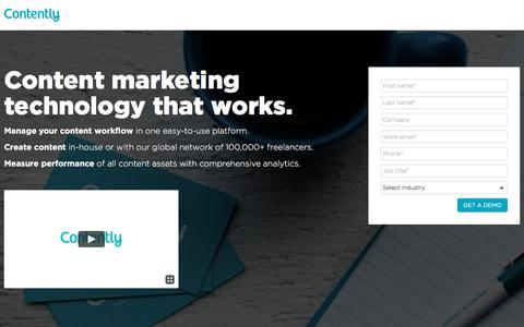 Screenshot of Landing Page contently.com - Content Technology - Contently - captured April 14, 2017