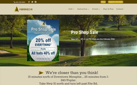 Screenshot of Home Page mirimichi.com - Mirimichi | The Midsouth's Best Public Course - captured Feb. 27, 2016