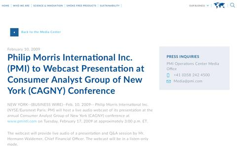 Screenshot of Press Page pmi.com - Philip Morris International Inc. (PMI) to Webcast Presentation at Consumer Analyst Group of New York (CAGNY) Conference - captured Nov. 1, 2018