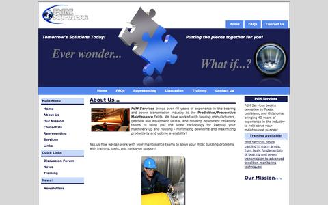 Screenshot of About Page pdmsvc.com - PdM Services - About Us - captured Oct. 2, 2014