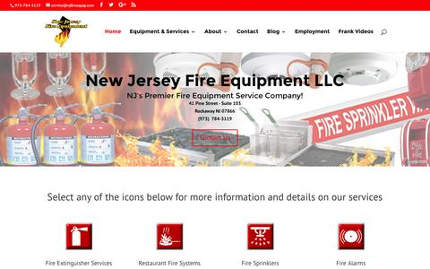 Screenshot of Home Page njfireequip.com - New Jersey Fire Extinguishers Sprinklers Alarms Emergency Exit Lights - captured Sept. 30, 2016