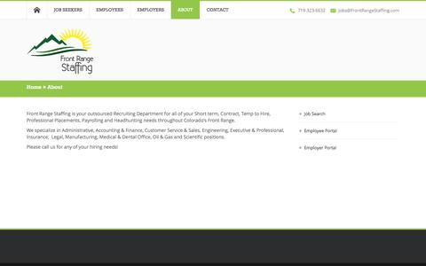 Screenshot of About Page frontrangestaffing.com - About  | Front Range Staffing - captured Sept. 30, 2014