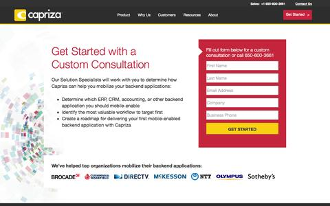 Screenshot of Signup Page capriza.com - Get Started | Capriza - captured July 3, 2015