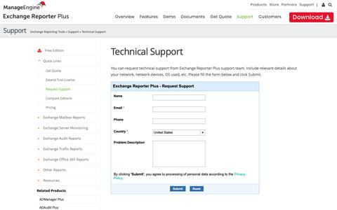 Screenshot of Support Page manageengine.com - ManageEngine Exchange Reporter Plus - Request Technical Support - captured Dec. 29, 2018