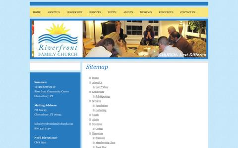 Screenshot of Site Map Page riverfrontfamilychurch.com - Home - Riverfront Family Church - captured Sept. 26, 2014